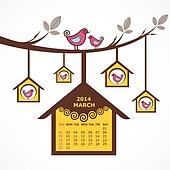 Calendar of March 2014 with birds