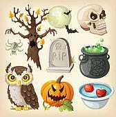 Set of items for halloween