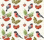 Seamless autumn pattern with birds