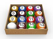 3d box of billiard pool balls