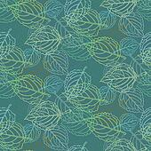Elegant pattern with leafs drawn in thin lines