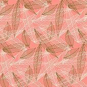 Organic pattern with leafs drawn in thin lines