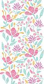 Embroidered garden vertical seamless pattern background border
