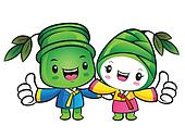 Bamboo and Bamboo shoot Mascot the hand best gesture. Nature Cha