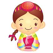 Girl Mascot is a polite greeting. Korea Traditional Cultural cha