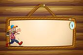 A hanging empty template with a smiling lumberjack