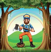 A lumberjack stepping at the stump in the forest