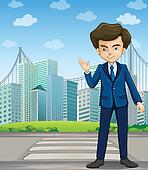 A man at the pedestrian lane across the tall buildings