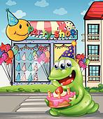 A monster with a cake standing at the pedestrian lane