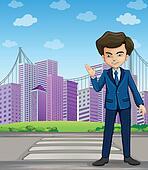A businessman at the pedestrian lane