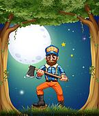 A lumberjack at the forest in the middle of the night