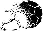 Girl Soccer with Splatter Ball