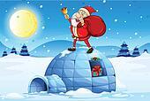 Santa standing above an igloo