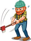 A tired lumberjack with an axe