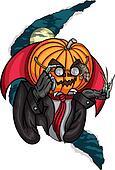 Halloween Pumpkin Head Jack and Rat