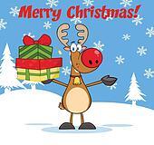 Christmas Greeting With Reindeer