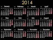 beautiful black calendar for 2014 year