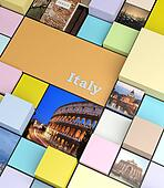 Square background with pastel colors and holidays photos, promotional concept