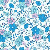 Blue and pink kimono blossoms seamless pattern background