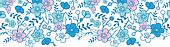 Blue and pink kimono blossoms horizontal seamless pattern background border