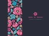 Night Kimono Blossom Horizontal Frame Seamless Pattern Background