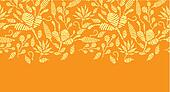 Golden floral embroidery horizontal border seamless pattern background