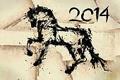 Year of horse draw 2014 black ink
