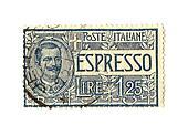 Espresso, old Italian post stamp