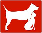 red pet icon with dog and cat