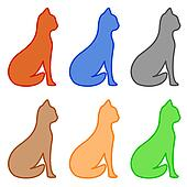 set isolated cat silhouette