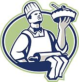 Baker Chef Cook Serving Pie Retro