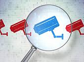 Security concept: magnifying optical glass with Cctv Camera icons on digital background, 3d render