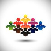 abstract colorful group of people or students or children - conc