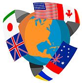 Globe World Flags Retro