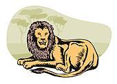 Lion Big Cat Retro