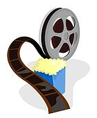 Movie Reel with Popcorn