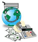 Globe Shopping Calculator Money Retro