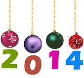 Christmas decorations with 2014 year