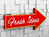 3d abstract cube wall arrow - idea bulb