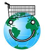 Smiley Face on Globe and Trolley