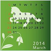 Vector calendar 2014 march