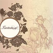 Elegant floral invitation card with roses