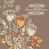 Vector invitation card with roses in vintage style for design