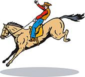 Rodeo Cowboy Horse Riding Retro