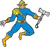 Superhero Viking Axe Retro