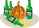 Beer Bottle and Pumpkin