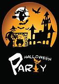 Halloween Party Graphic with Scared