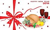 New Year Gift Card with Christmas Dinner