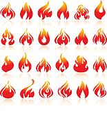 Fire flames, set orange icons with reflection
