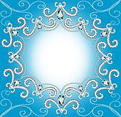 background with ornament with pearls and silver twisted edge